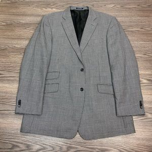 Paul Fredrick Grey Glen Plaid Sport Coat 46L Long